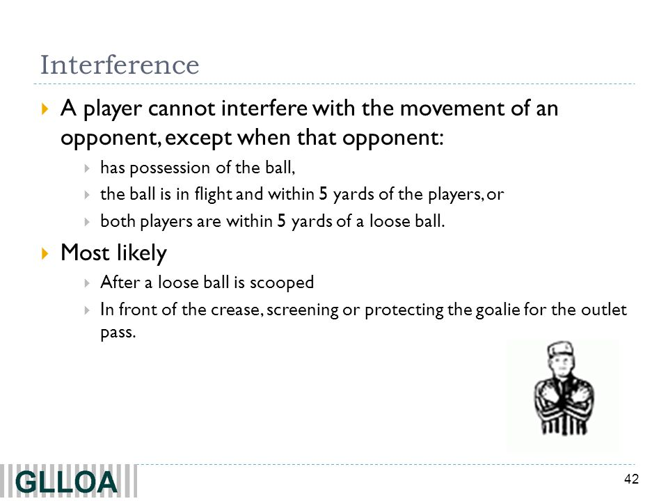 Interference A player cannot interfere with the movement of an opponent, except when that opponent: