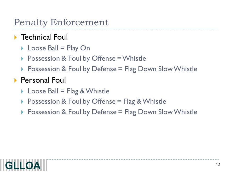 Penalty Enforcement Technical Foul Personal Foul Loose Ball = Play On