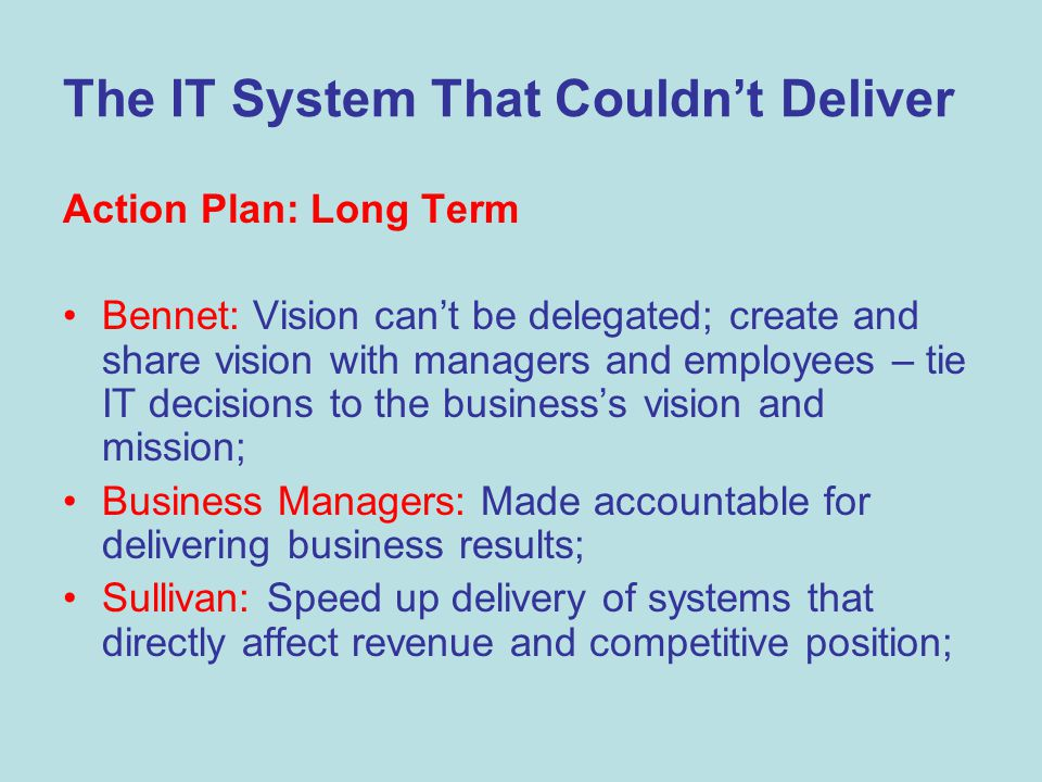 The IT System That Couldn't Deliver