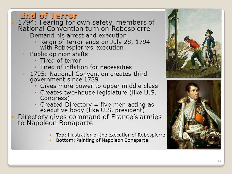 End of Terror 1794: Fearing for own safety, members of National Convention turn on Robespierre.