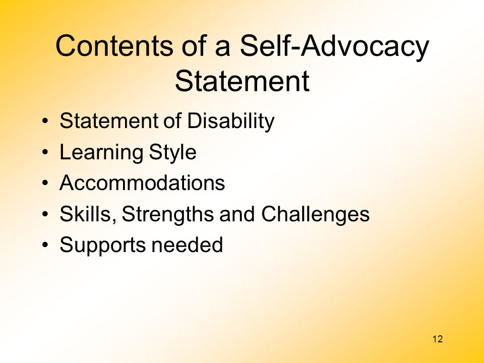 Contents of a Self-Advocacy Statement
