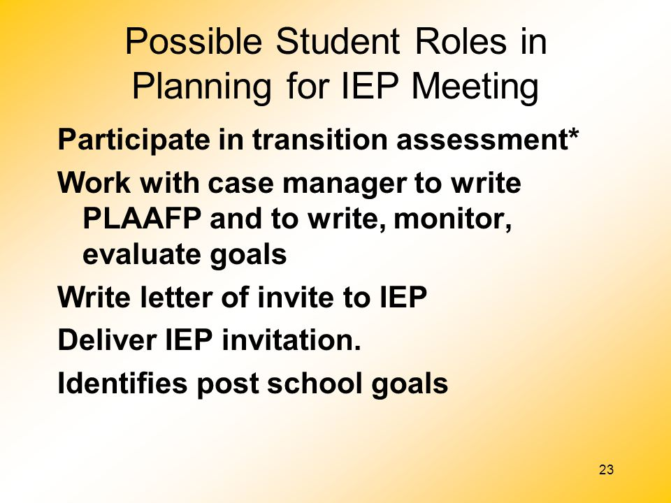 Possible Student Roles in Planning for IEP Meeting