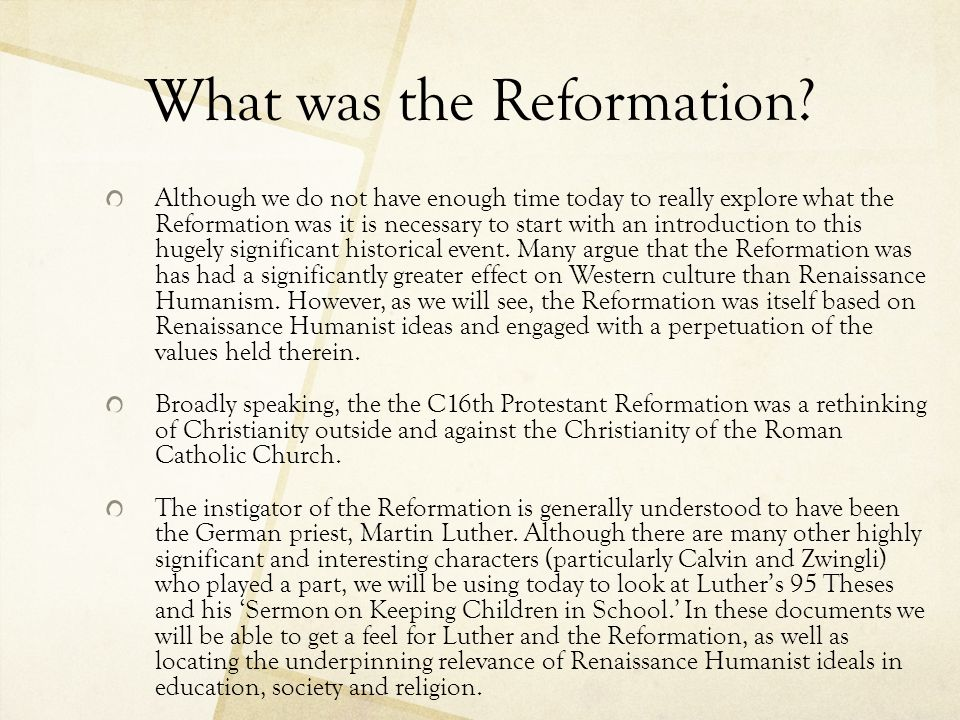 What was the Reformation
