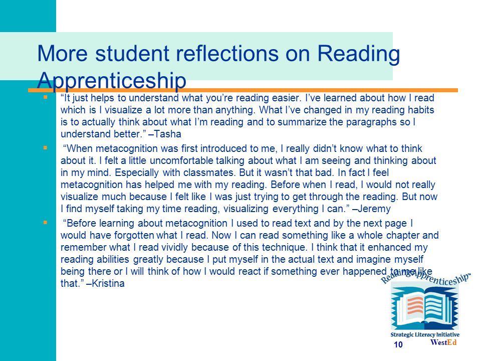 More student reflections on Reading Apprenticeship
