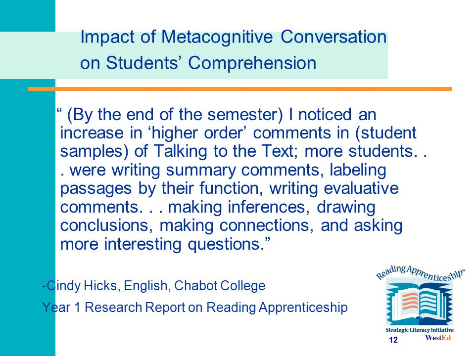 Impact of Metacognitive Conversation on Students' Comprehension