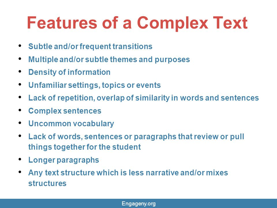Features of a Complex Text