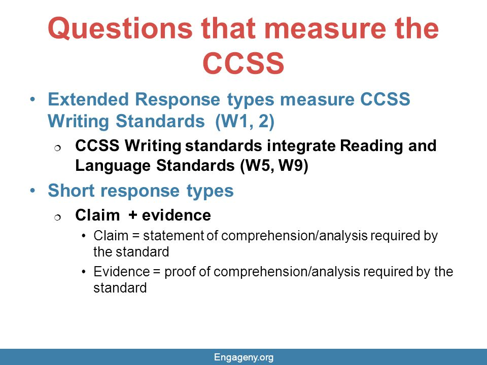 Questions that measure the CCSS