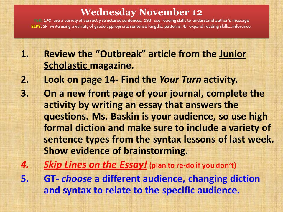 Review the Outbreak article from the Junior Scholastic magazine.