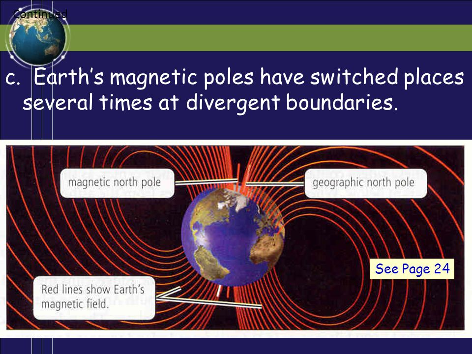 Continued c. Earth's magnetic poles have switched places several times at divergent boundaries.