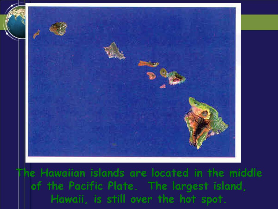 The Hawaiian islands are located in the middle of the Pacific Plate