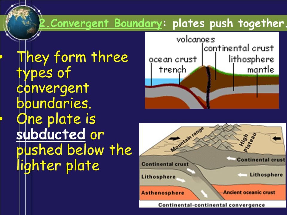 They form three types of convergent boundaries.