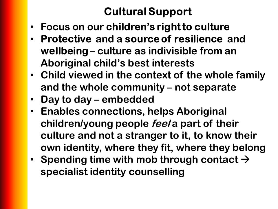 Cultural Support Focus on our children's right to culture