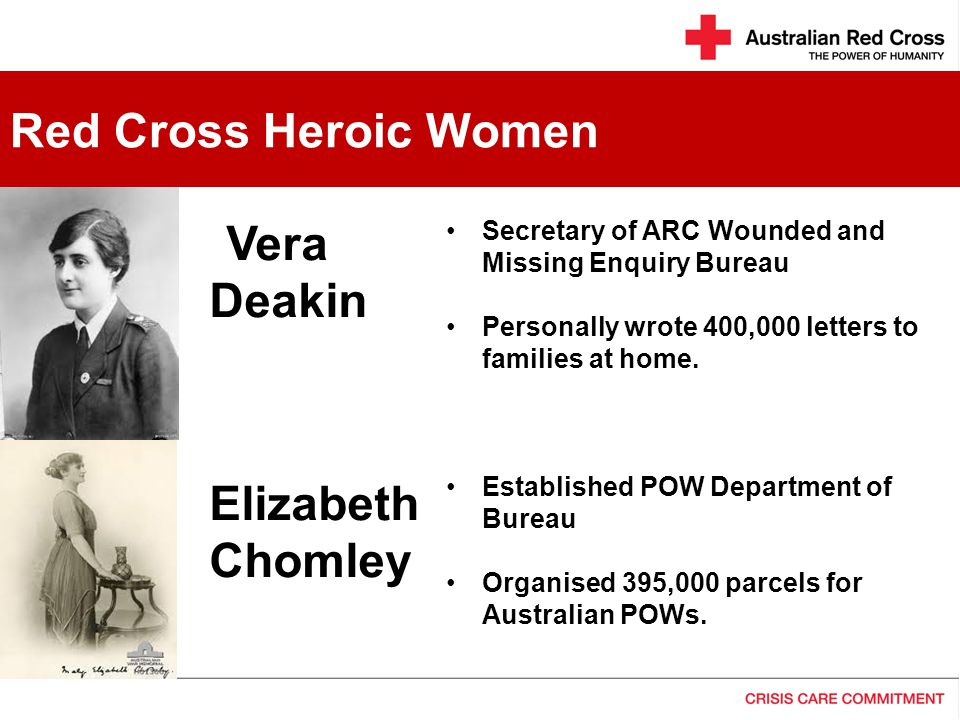 vera deakin Vera deakin, youngest daughter of australia's second prime minister, ran the bureau that gave families information about wounded and missing soldiers on the western front from 1916 to 1918.