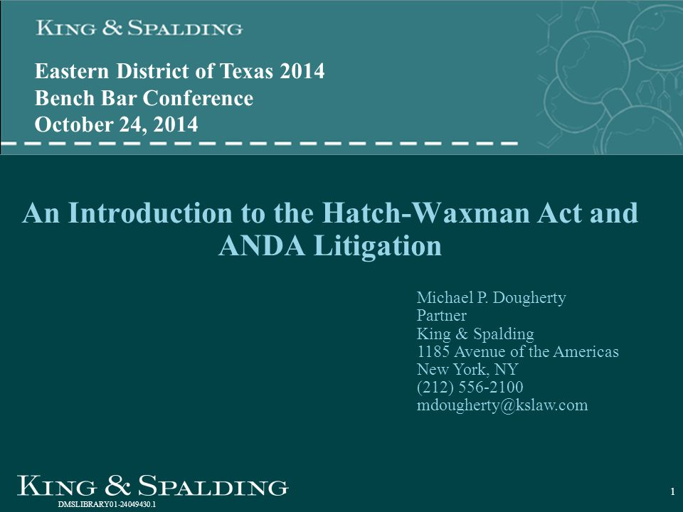 An Introduction to the Hatch-Waxman Act and ANDA Litigation