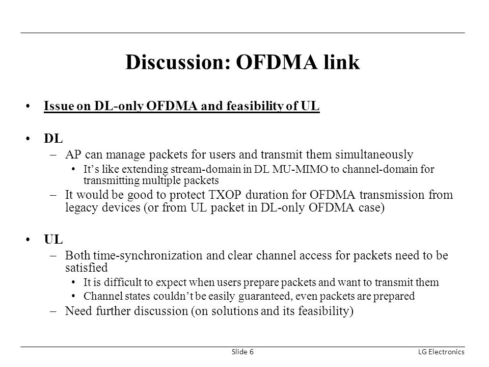 Discussion: OFDMA link