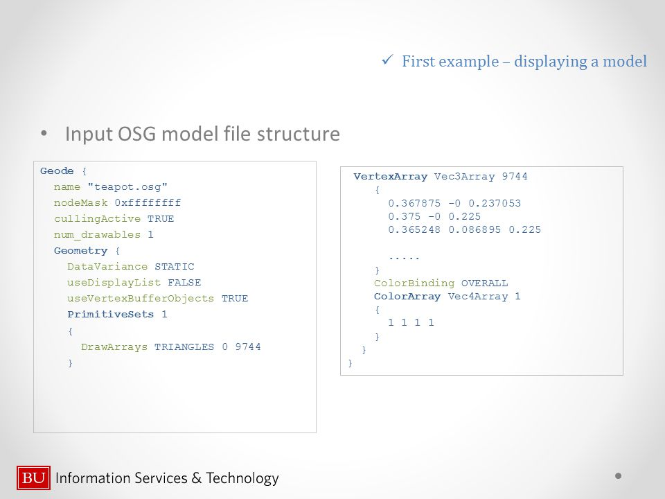 Input OSG model file structure