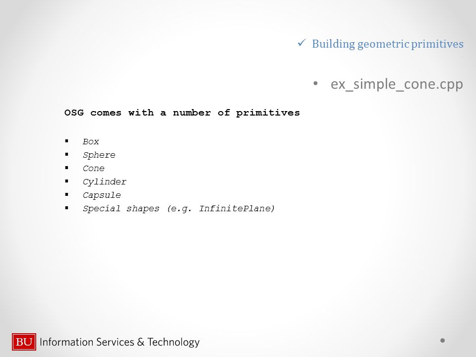 ex_simple_cone.cpp Building geometric primitives