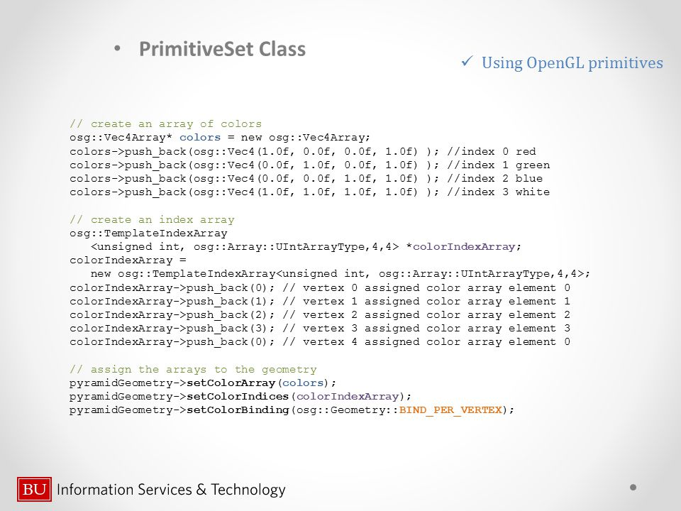 PrimitiveSet Class Using OpenGL primitives