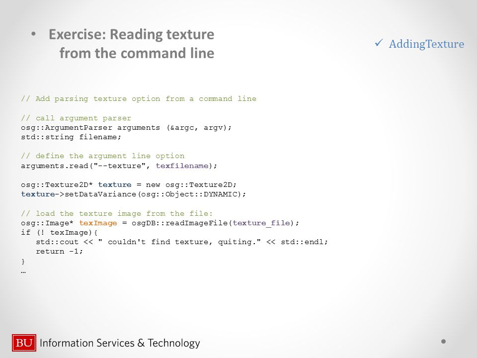 Exercise: Reading texture from the command line