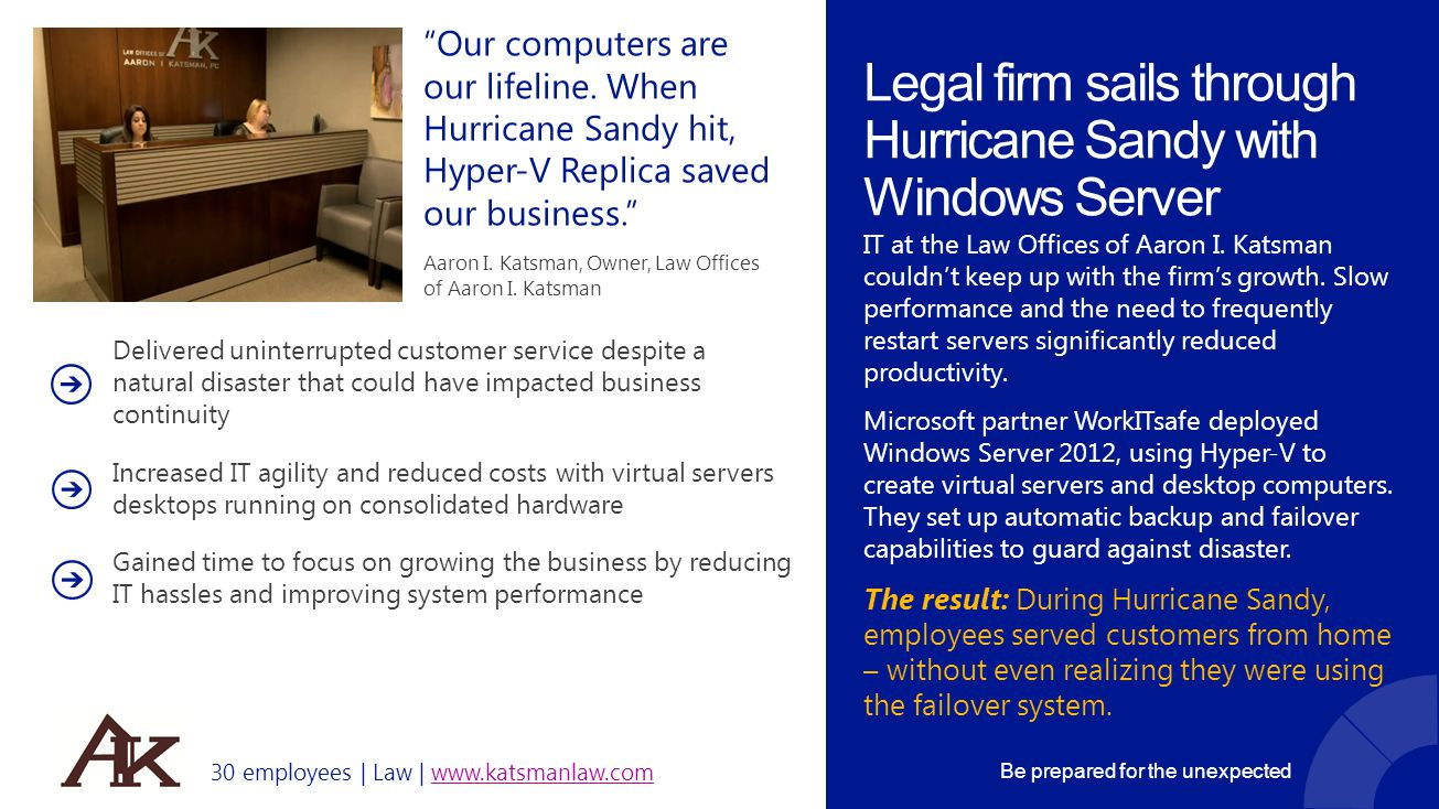 Legal firm sails through Hurricane Sandy with Windows Server