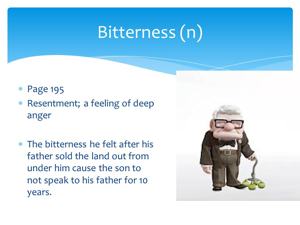 Bitterness (n) Page 195 Resentment; a feeling of deep anger