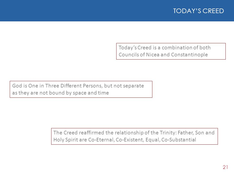 TODAY'S CREED Today's Creed is a combination of both Councils of Nicea and Constantinople.