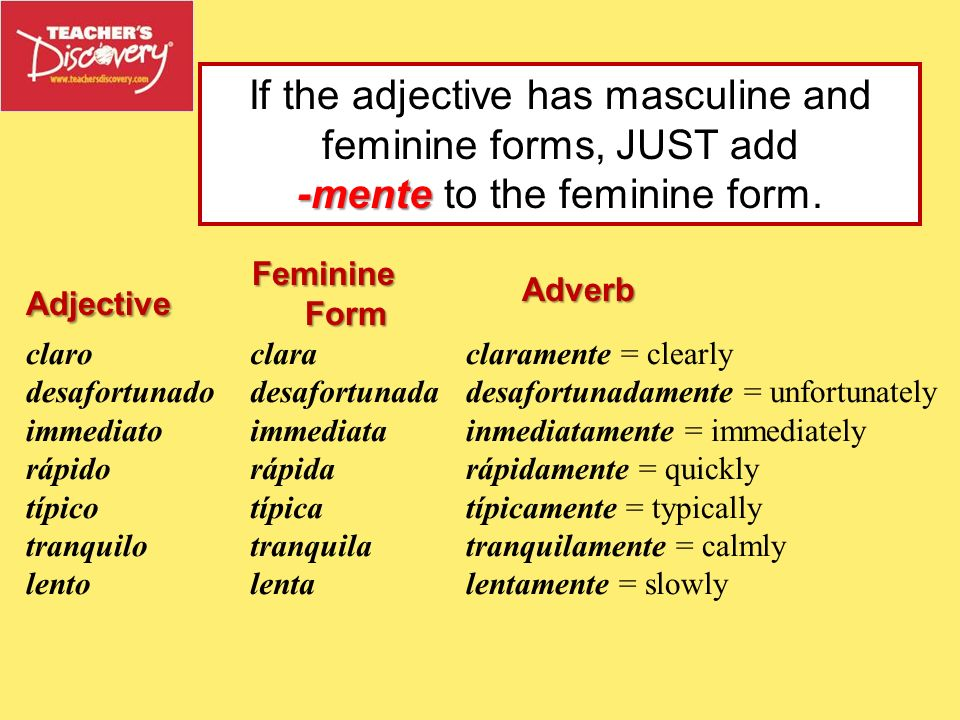 If the adjective has masculine and feminine forms, JUST add