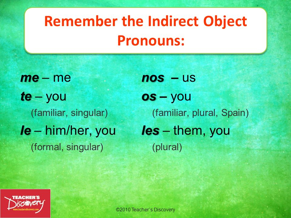 Remember the Indirect Object Pronouns:
