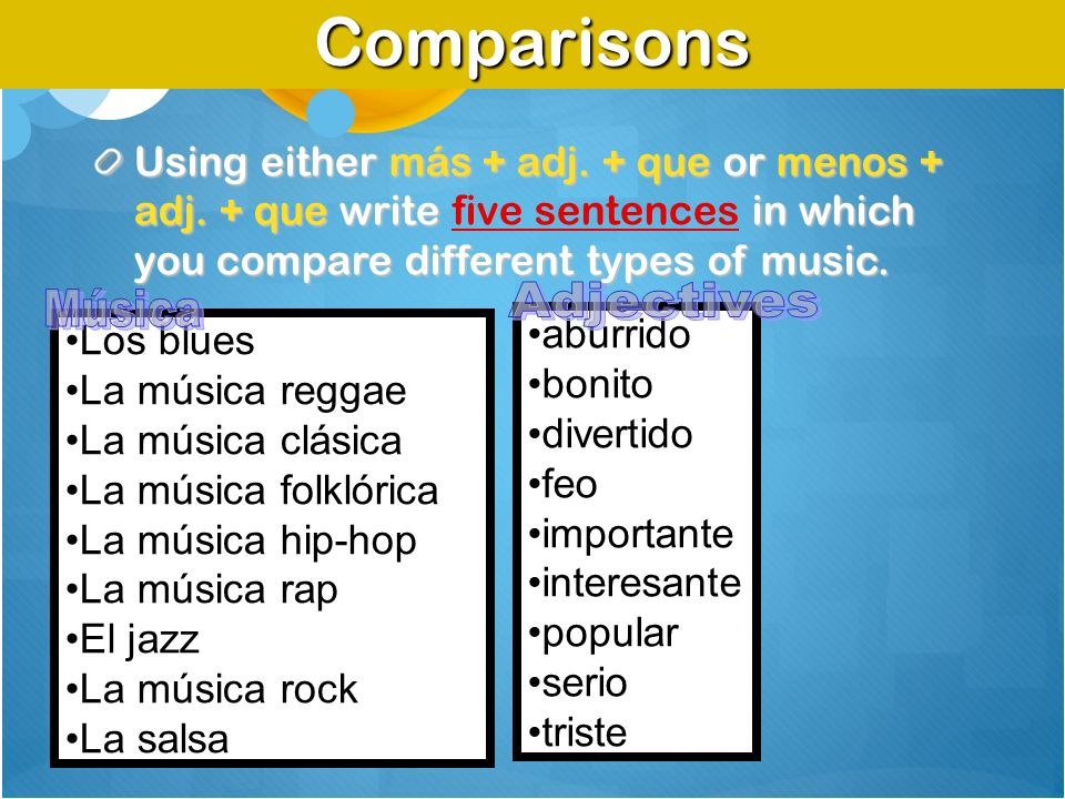 Comparisons Adjectives Música
