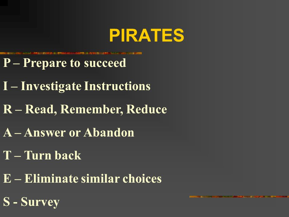 PIRATES P – Prepare to succeed I – Investigate Instructions