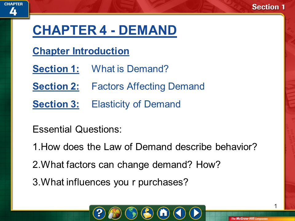 Chapter 4 Demand Chapter Introduction Section 1 What Is Demand