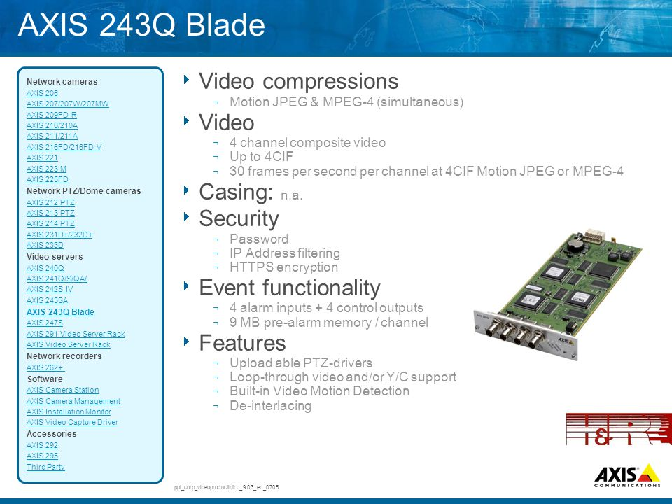 AXIS 243Q Blade Video compressions Video Casing: n.a. Security