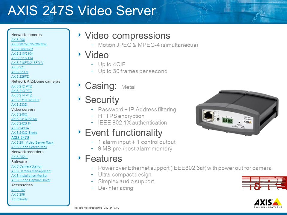 AXIS 247S Video Server Video compressions Video Casing: Metal Security