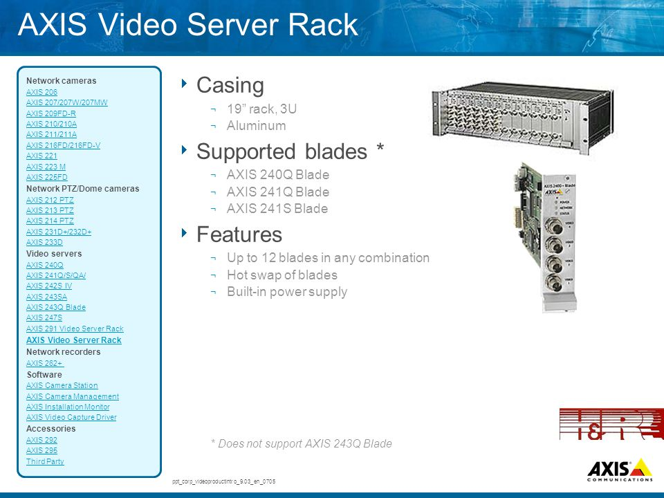 AXIS Video Server Rack Casing Supported blades * Features 19 rack, 3U