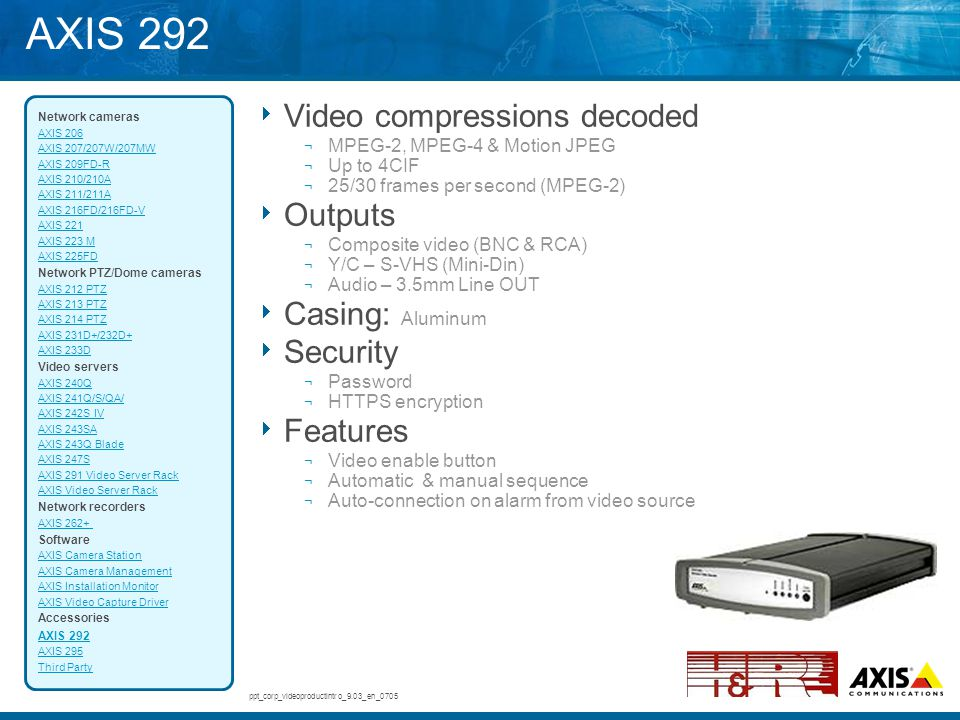 AXIS 292 Video compressions decoded Outputs Casing: Aluminum Security