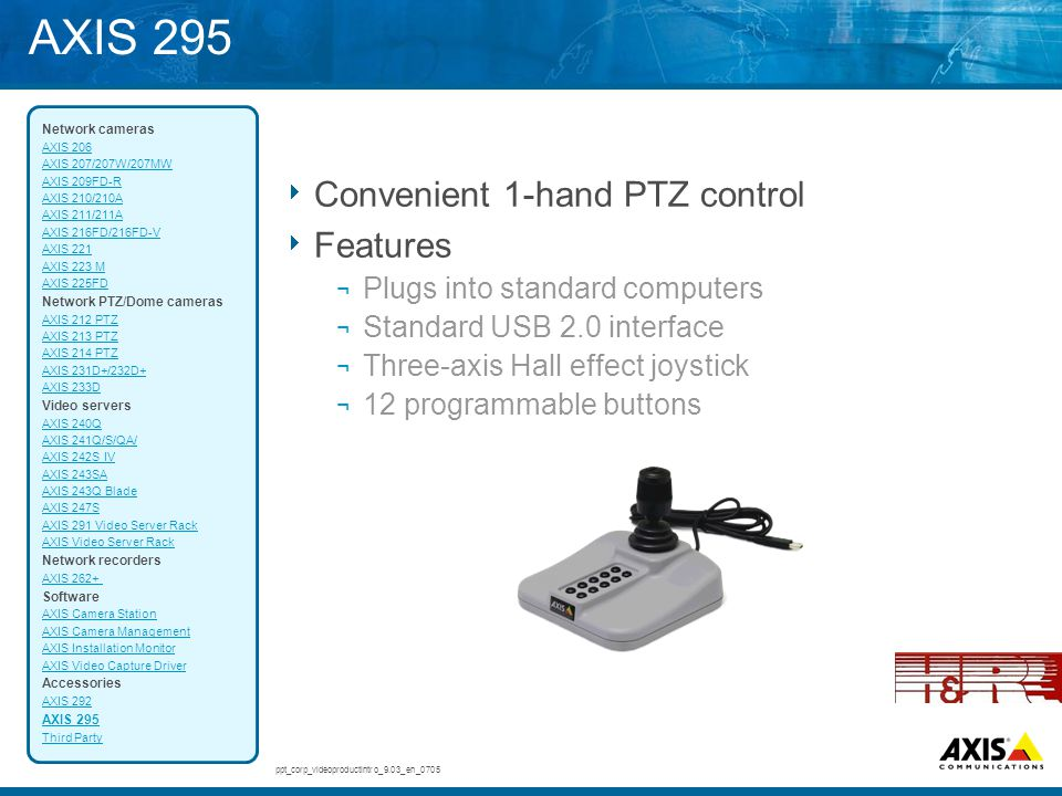 AXIS 295 Convenient 1-hand PTZ control Features