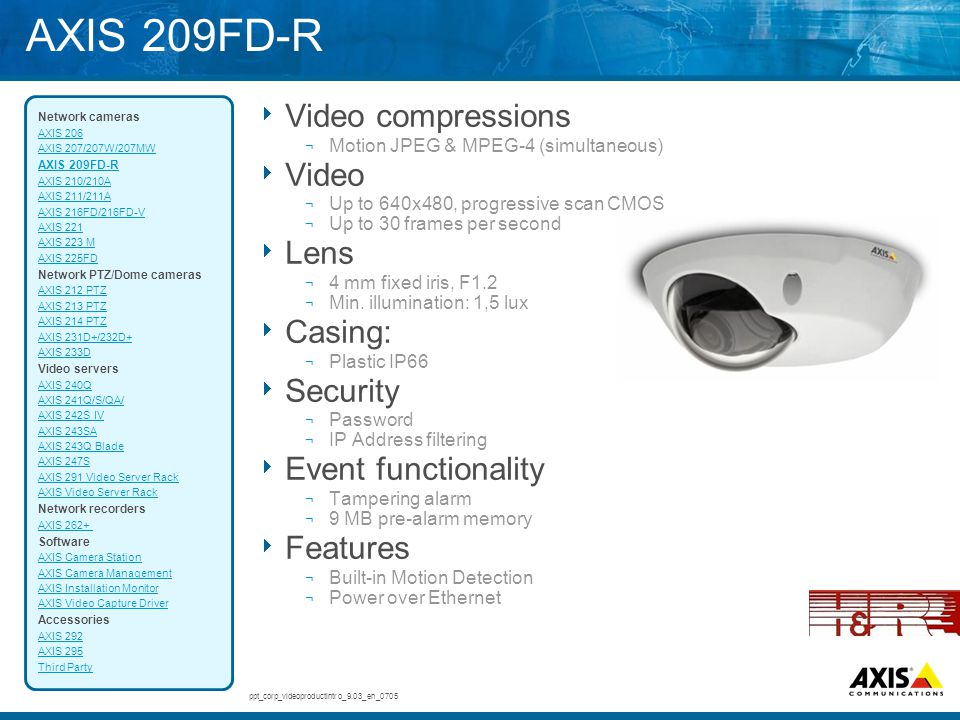 AXIS 209FD-R Video compressions Video Lens Casing: Security
