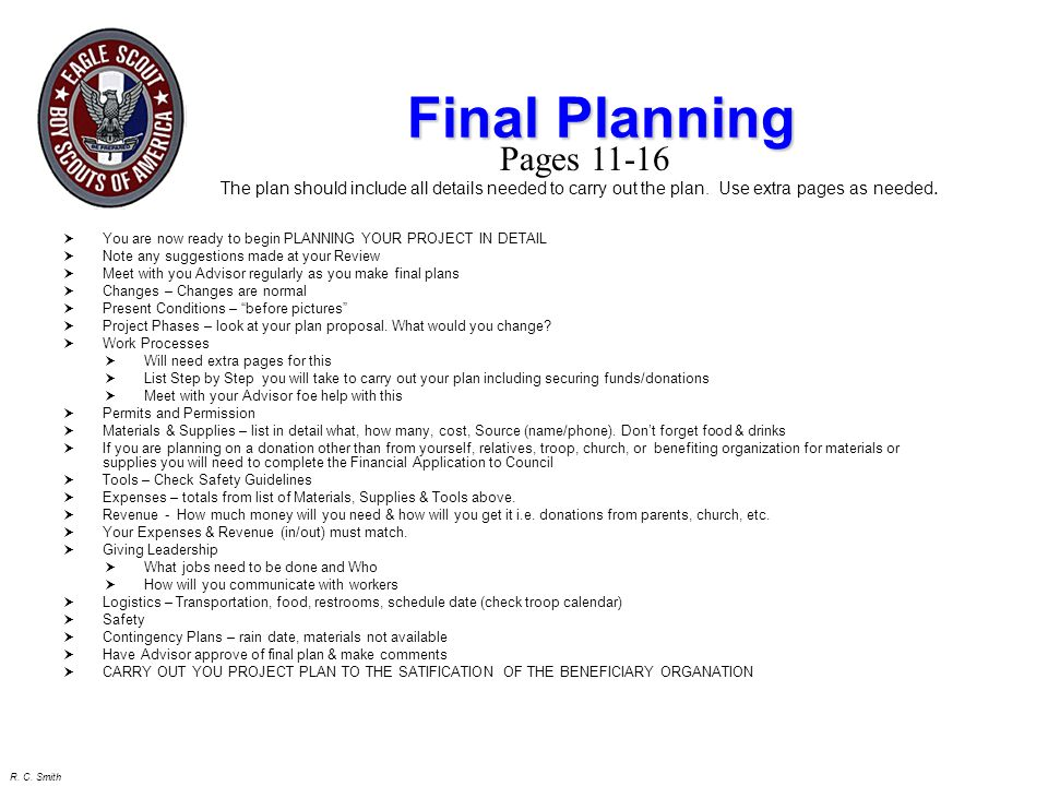 Final Planning Pages 11-16. The plan should include all details needed to carry out the plan. Use extra pages as needed.