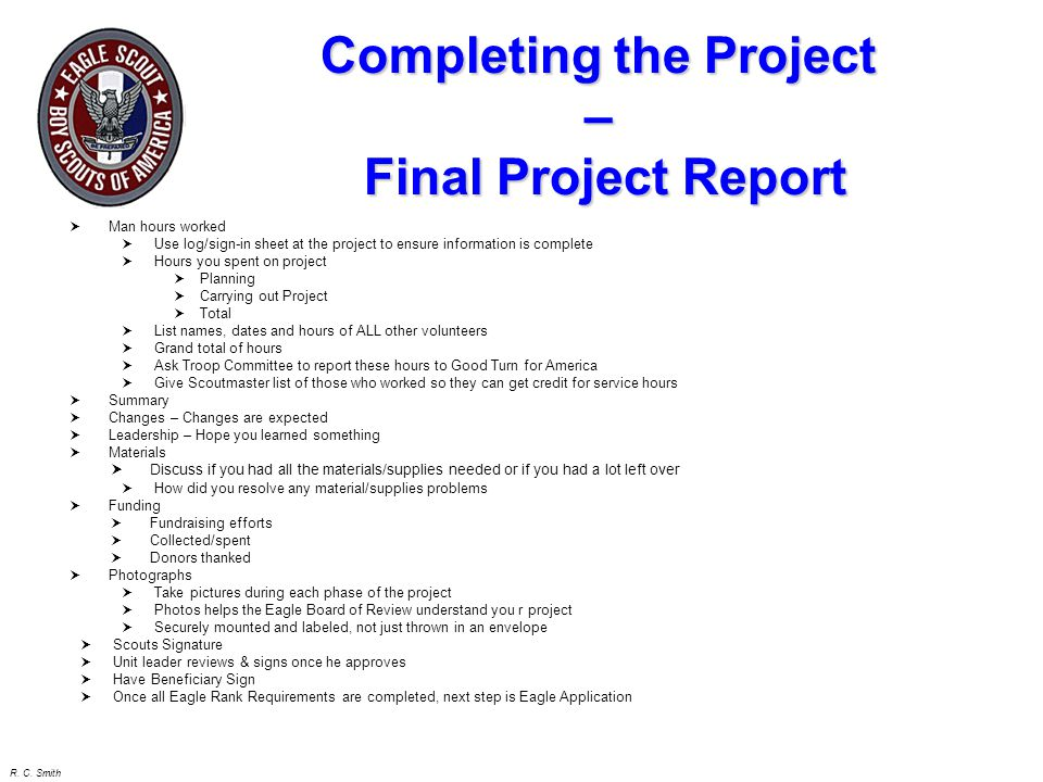 Completing the Project – Final Project Report