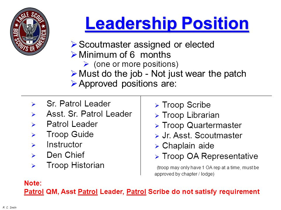 Leadership Position Scoutmaster assigned or elected