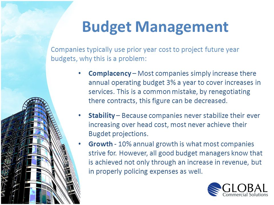 Budget Management Companies typically use prior year cost to project future year. budgets, why this is a problem: