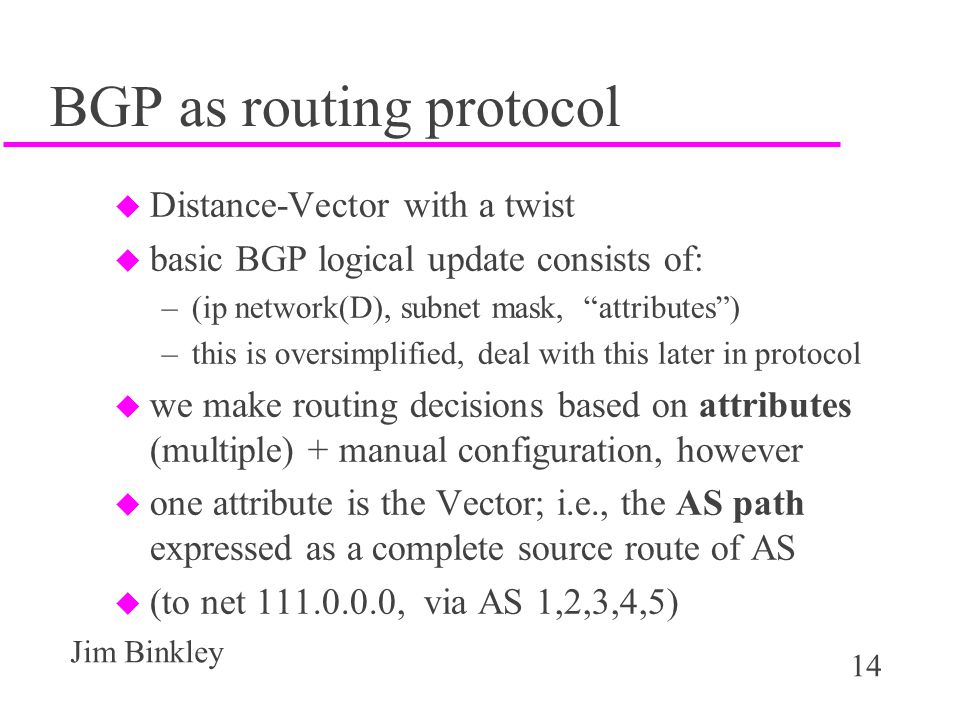 BGP as routing protocol