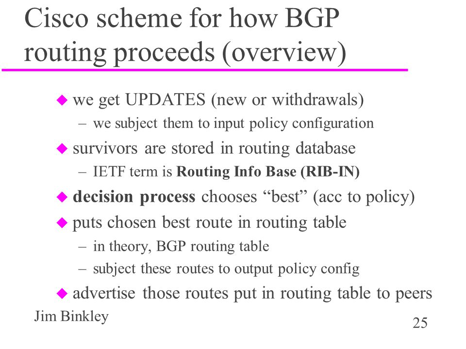 Cisco scheme for how BGP routing proceeds (overview)