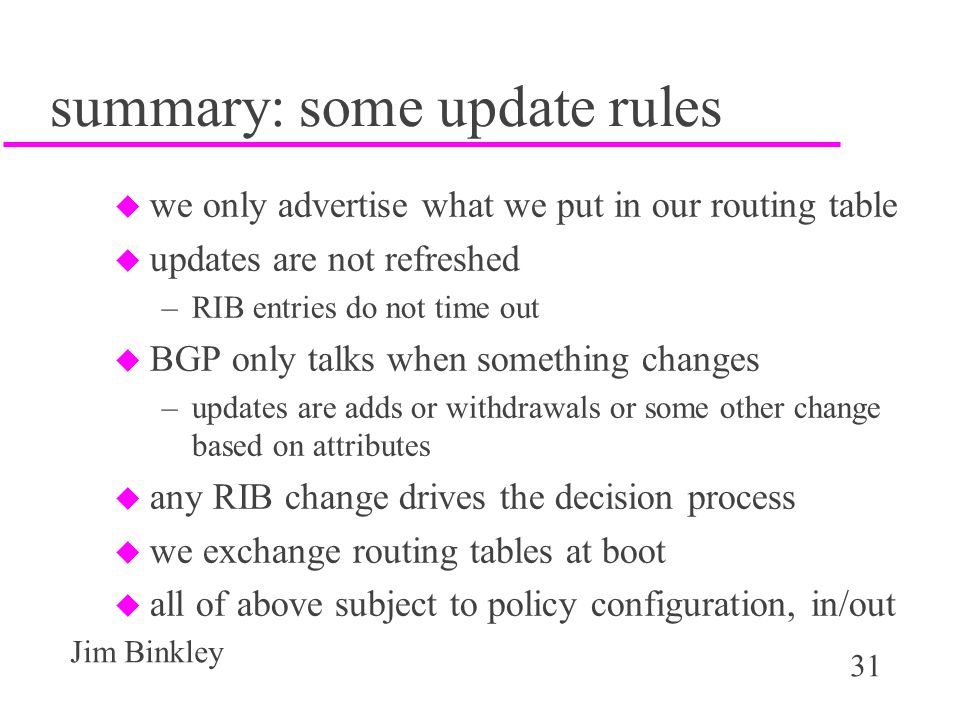 summary: some update rules