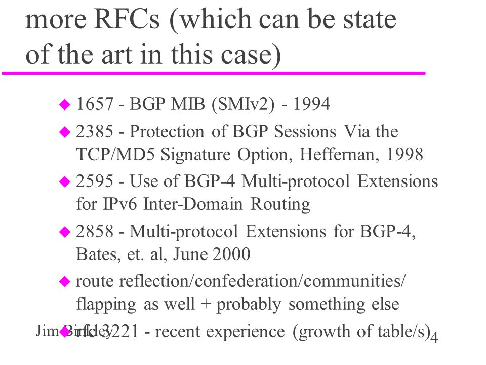 more RFCs (which can be state of the art in this case)