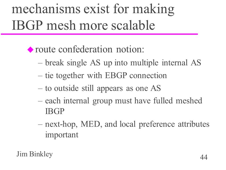 mechanisms exist for making IBGP mesh more scalable