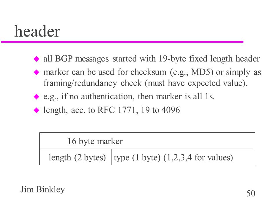 header all BGP messages started with 19-byte fixed length header