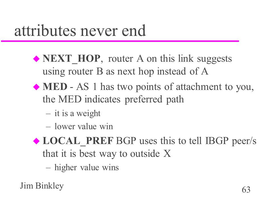 attributes never end NEXT_HOP, router A on this link suggests using router B as next hop instead of A.