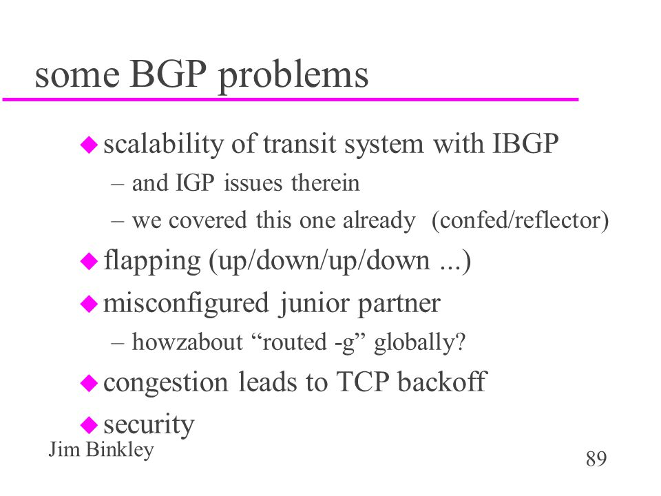 some BGP problems scalability of transit system with IBGP