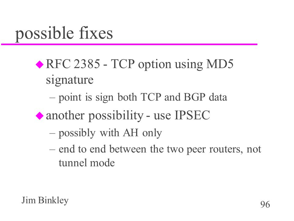 possible fixes RFC 2385 - TCP option using MD5 signature